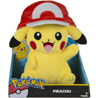 Pokemon Pikachu with Ash Hat Large Plush 10""
