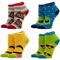 Emoji 4 Pair Youth Ankle Socks