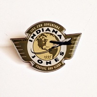 Indiana Jones Global Earth and Plane Logo Enamel Metal Pin