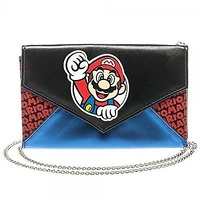 Nintendo Super Mario Bros Women's Girl's Envelope Chain Clutch Wallet Purse