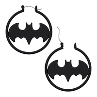 Batman Logo Stainless Steel Black Matte Hoop Earrings