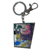 Alice in Wonderland Alice and Cheshire Cat Pewter Key Chain