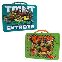 TMNT Large Embossed Carry All Tin Lunch Box Case