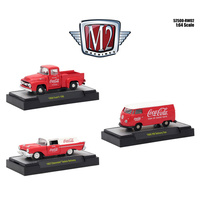 "M2 Machines ""Coca-Cola"" Release 2, Set of 3 Cars Limited Edition to 4,800 pieces Worldwide Hobby Exclusive  1:64 Scale"