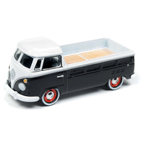 Johnny Lightning 1:64 Scale Classic Gold - 1965 Volkswagen Type 2 Pickup Gloss Black and White