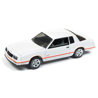 Johnny Lightning 1:64 Scale Classic Gold - 1987 Chevrolet Monte Carlo Aerocoupe Gloss White