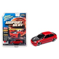 Johnny Lightning 1:64 Scale Street Freaks MiJo Exclusive - Import Heat 1998 Honda Civic Custom Red with Carbon Hood