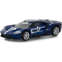 Greenlight 1:64 Scale Ford Racing Heritage Series 2 2017 Ford GT #4 Tribute to 1967 Ford GT40 Mk IV Blue with White Stripes