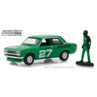 Greenlight 1:64 Scale The Hobby Shop Series 5 1970 Datsun 510 with Race Car Driver (Green)