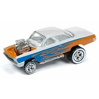 "Johnny Lightning 1:64 Scale Street Freaks - 1962 Chevrolet Bel Air Bubbletop ""Zingers"" Metallic Orange and Pearl White with Blue Flames"
