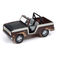 "Johnny Lightning 1:64 Scale Street Freaks - 1968 Ford Bronco ""Off Road"" Cocoa Metallic with Black Hood and Cream Stripes"