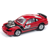 "Johnny Lightning 1:64 Scale Street Freaks - 1994 Ford Mustang #50 ""Spoilers"" Euro Red with Black Stripe"