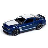 Auto World Muscle Cars Premium 2019 Release 1 - 1:64 Scale 2012 Ford Mustang Boss 302 Kona Blue with White Top and Stripes