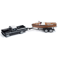 Johnny Lightning 1:64 Scale HULLS & HAULERS - 1959 Chevy El Camino with Wooden Barrelback Boat