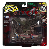 Johnny Lightning 1:64 Scale 1:64 Silver Screen - 1958 Plymouth Fury Christine Tin - Dirty Version Diorama