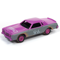 Johnny Lightning 1:64 Scale Street Freaks 2019 Release 3B - Demolition Derby - 1977 Chevrolet Monte Carlo Stock Car (Pink/Primer Grey)