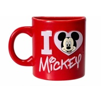 Disney Magnet Half Ceramic Micky Mouse Mug - I Love Mickey Mouse - RED