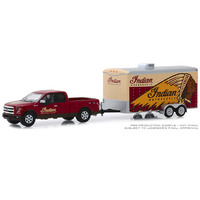 Greenlight 1:64 Scale Hitch & Tow Series 18 - Indian Motorcycle - 2017 Ford F-150 with Indian Motorcycle Enclosed Car Hauler