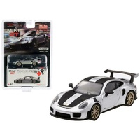 True Scale Miniatures Mini GT MiJo Exclusive - Porsche 911 GT2 RS Weissach Package GT Silver Metallic with Carbon Stripes Ltd Ed to 3,600 pieces