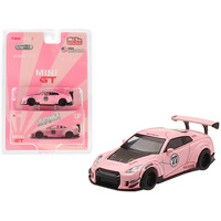 "True Scale Miniatures Mini GT - Nissan GT-R (R35) #77 Pink Pig Type 2 LB Works ""LibertyWalk"" with Rear Wing Limited Edition to 3,600 pieces Worldwide"
