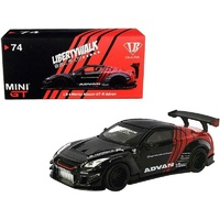 "True Scale Miniatures Mini GT - Nissan GT-R (R35) Type 2 RHD LB Works ""LibertyWalk"" with Rear Wing Ver 3 Black and Red ""ADVAN"" Japan Exclusive"