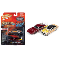 Johnny Lightning 1:64 2-Pack - Psychedelic Seventies 1969 Chevrolet Camaro SS (Yellow) & 1969 Dodge Charger Daytona (Red)