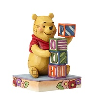 JIM SHORE DISNEY TRADITIONS - POOH WITH BABY BLOCKS - WORD PLAY