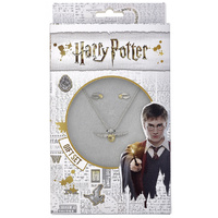 Harry Potter Necklace and Stud Earring Set Golden Snitch