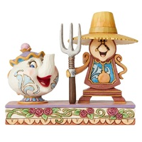 Jim Shore Disney Traditions - Beauty & the Beast - Mrs Potts & Cogsworth Workin' Round the Clock