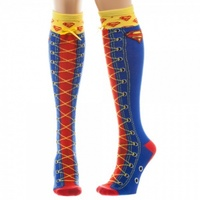 DC Comics Superman Faux Lace Up Knee High Socks