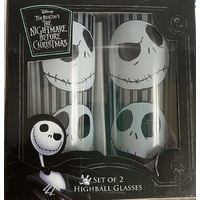 The Nightmare Before Christmas Highball Glasses - Faces of Jack - Set of 2