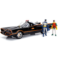 Batman 1966 - Classic TV Series Batmobile with Working Lights, Batman and Robin Die Cast Figures Jada 1:18 - Hollywood Rides