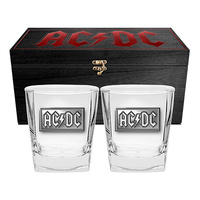 ACDC SET OF 2 GLASSES IN WOODEN BOX