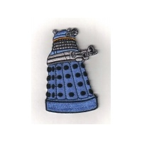 Doctor Who British TV Series Blue Dalek Die-Cut Embroidered Patch