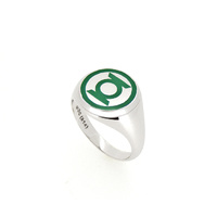 DC Comics - Green Lanter Silver Ring & Enamel Ring