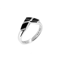 DC Comics - Harley Quinn Stirling Silver & Black Enamel Ring