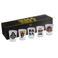 KISS SET OF 5 SHOT GLASSES IN WOODEN BOX
