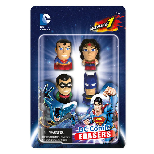 DC Erasers 4 Pack Set - Supergirl, Hawk Man, Harley Quinn, and Nightwing